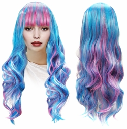 SALE! Blue & Pink Long Bangs Cosplay Adult Women's Wig