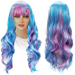 NEW! Blue & Pink Long Bangs Cosplay Adult Women's Wig