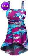 SOLD OUT! Blue & Purple Floral Seas Plus Size Swimdress 2pc Hi-Lo Cascading Supersize 1x