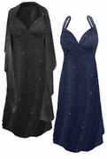 SOLD OUT! FINAL CLEARANCE SALE! Plus Size 2-Piece Navy Slinky w/Glitter Dots Princess Seam Dress Set  7x