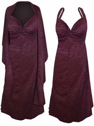 SOLD OUT! SALE! Burgundy With Silver Glimmer Slinky Plus Size SuperSize Princess Seam Dress Set 3x 6x