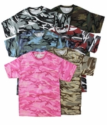 FINAL CLEARANCE SALE! Camouflage T-Shirts Many Colors! Pink Green Tan Blue Black Wine 2x 3x 4x