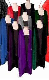 SALE! Cascading Plus Size Wrap Jackets! Green - Black - Royal - Red Slinky - Velvet - Glimmer 0x 5x 7x
