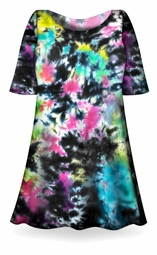 SALE! Cloudy Tropical Sky Black, Hot Pink, Green, Blue Tie Dye Supersize X-Long Plus Size T-Shirt + Add Rhinestones 0x 1x 2x 3x 4x 5x 6x 7x 8x