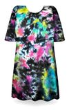SOLD OUT! CLEARANCE! Cloudy Tropical Sky Black, Hot Pink, Green, Blue Tie Dye Plus Size T-Shirt 5x