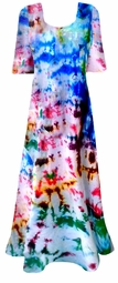 SALE! Color Splash Tie Dye Plus Size & Supersize Princess Cut Short Sleeve Dress 0x 1x 2x 3x 4x 5x 6x 7x 8x