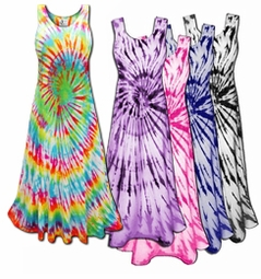 SALE! Vivid Swirl Cotton Tie Dye Plus Size & Supersize Princess Cut Tank Dress 0x 1x 2x 3x 4x 5x 6x 7x 8x