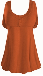SOLD OUT! Coral Cotton Lycra Mock Button Top Plus Size & Supersize Babydoll Short Sleeve Shirt