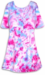 SALE! Cotton Candy Blue & Pink Tie Dye Plus Size Supersize A-Line or Princess Seam X-Long T-Shirt 1x 2x 3x 4x 5x 6x 7x 8x