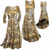 SOLD OUT!! Customizable Black Ornate With Gold Metallic Slinky Print Plus Size & Supersize Short or Long Sleeve Dresses & Tanks - Sizes
