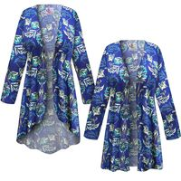 SOLD OUT! SALE! Customizable Blue Floral Slinky Print Plus Size & Supersize Jackets & Dusters - Sizes Lg XL 1x 2x 3x 4x 5x 6x 7x 8x 9x