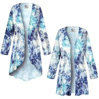 SOLD OUT! SALE! Customizable Blue Floral With Silver Sparkles Slinky Print Plus Size & Supersize Jackets & Dusters - Sizes Lg to 9x