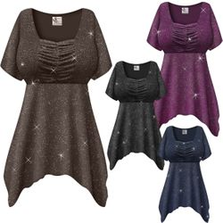 NEW! Customizable Plus Size Embossed Navy, Black or Gray Glitter Slinky Babydoll Top 0x 1x 2x 3x 4x 5x 6x 7x 8x
