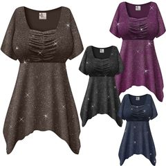 SALE! Customizable Plus Size Embossed Black or Gray Glitter Slinky Babydoll Top 0x 1x 2x 3x 4x 5x 6x 7x 8x