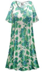 CLEARANCE! Customizable Green Roses Print Plus Size & SuperSize Muumuu - Moo Moo PJ Dress 2x
