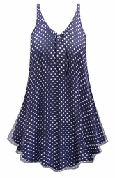 SOLD OUT! Customizable Navy With White Polka Dots Print Sheer A-Line Overshirt Supersize & Plus Size Top 0x 1x 2x 3x 4x 5x 6x 7x 8x