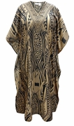 SALE! Customizable Plus Size Black & Brown Tribal Print Long Caftan Dress or Shirt 1x-6x
