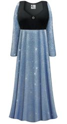 CLEARANCE! Plus Size Blue With Blue Glimmer/Glitter Empire Waist Dress With Rhinestone Detail 5x