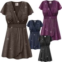 CLEARANCE! Plus Size Embossed Black or Plum Glitter Slinky Tie Babydoll Top Lg 2x 3x