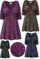CLEARANCE! Plus Size Embossed Black or Plum Glitter Slinky Tie Babydoll Top Lg 2x 3x 6x