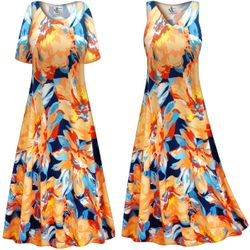 CLEARANCE! Customizable Plus Size Large Orange Blooms Slinky Print Short or Long Sleeve Dresses & Tanks - Sizes 4x