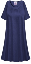SALE! Customizable Plus Size Navy Light Weight Sleep Gown - Muumuu - Moo Moo Dress 0x 1x 2x 3x 4x 5x 6x 7x 8x 9x
