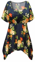 SALE! Customizable Plus Size Navy & Orange Roses Slinky Print Babydoll Top 0x 1x 2x 3x 4x 5x 6x 7x 8x