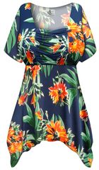 SALE! Customizable Plus Size Navy & Orange Tropical Floral Slinky Print Babydoll Top 0x 1x 2x 3x 4x 5x 6x 7x 8x