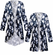 CLEARANCE! Plus Size Navy & White Floral Slinky Print Jackets & Dusters - Sizes 1x