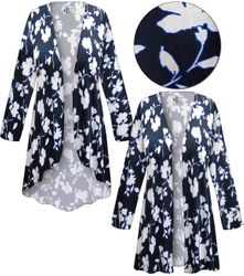 SALE! Plus Size Navy & White Floral Slinky Print Jackets & Dusters - Sizes 1x