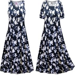 CLEARANCE! Plus Size Navy & White Floral Slinky Print Short or Long Sleeve Dresses & Tanks - Sizes XL 3x 4x