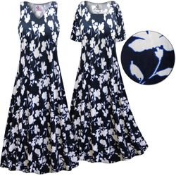 SALE! Customizable Plus Size Navy & White Floral Slinky Print Short or Long Sleeve Dresses & Tanks - Sizes XL 3x 4x