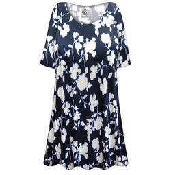 CLEARANCE! Customizable Plus Size Navy & White Floral Slinky Print Short or Long Sleeve Shirts - Tunics - Tank Tops - Sizes 2x