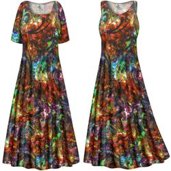 CLEARANCE! Plus Size Paisley Slinky Print Short or Long Sleeve Dresses & Tanks - Sizes 0x 1x