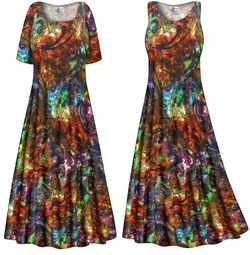 SOLD OUT! Plus Size Paisley Slinky Print Short or Long Sleeve Dresses & Tanks - Sizes 0x 1x