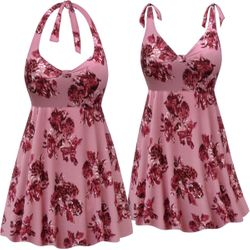 CLEARANCE! Customizable Plus Size Pink Floral Print Halter or Shoulder Strap 2pc Swimsuit/SwimDress 3x