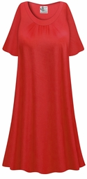 SALE! Customizable Plus Size Red Fleece Lined Soft Rayon Blend Sleep Gown - Muumuu - Moo Moo Dress 0x 1x 2x 3x 4x 5x 6x 7x 8x 9x