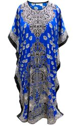 SALE! Customizable Plus Size Royal Blue Floral Print Long Caftan Dress or Shirt 1x-6x