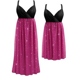 SALE! Customizable Plus Size Sheer Pink With Sparkles Empire Waist Dress 0x 1x 2x 3x 4x 5x 6x 7x 8x