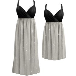 SALE! Customizable Plus Size Sheer Sparkly Gray Crinkle Empire Waist Dress 0x 1x 2x 3x 4x 5x 6x 7x 8x