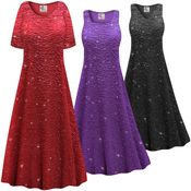 CLEARANCE! Customizable Plus Size Sparkling Black Glitter Crinkle Slinky Print Short or Long Sleeve Dresses & Tanks 3x
