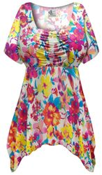 SALE! Customizable Plus Size Spring Flowers Slinky Print Babydoll Top 0x 1x 2x 3x 4x 5x 6x 7x 8x