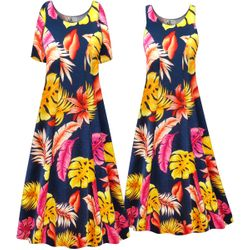 SALE! Customizable Plus Size Tropical Print Princess Cut Soft Rayon Blend Jersey Dress 0x 1x 2x 3x 4x 5x 6x 7x 8x 9x