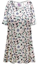SALE! Plus Size White Jasmine Print Extra Long Poly/Cotton T-Shirts 4x