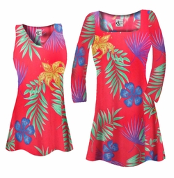 SOLD OUT! Customizable Red With Blue Tropical Flowers Slinky Print Plus Size & Supersize Short or Long Sleeve Shirts - Tunics - Tank Tops - Sizes 1x