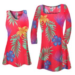 SALE! Customizable Red With Blue Tropical Flowers Slinky Print Plus Size & Supersize Short or Long Sleeve Shirts - Tunics - Tank Tops - Sizes 1x