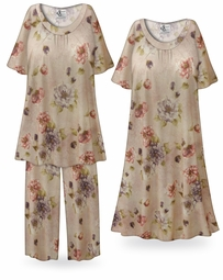 SALE! Customizable Romantic Rose, Sand Color Plus Size & SuperSize Muumuu - Moo Moo Dress or Pajama Pant Set 3x