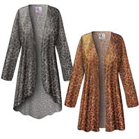 SOLD OUT! SALE! Customizable Shimmery Leopard Slinky Print Plus Size & Supersize Jackets & Dusters - Sizes Lg XL 1x 2x 3x 4x 5x 6x 7x 8x 9x