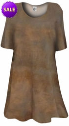 SOLD OUT! Dark Brown Tye Dye Print Plus Size & Supersize A Line Extra Long T-Shirts