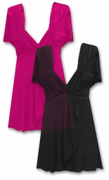 SOLD OUT! CLEARANCE! Black or Hot Pink Slinky Plus Size Magic Babydoll Tops
